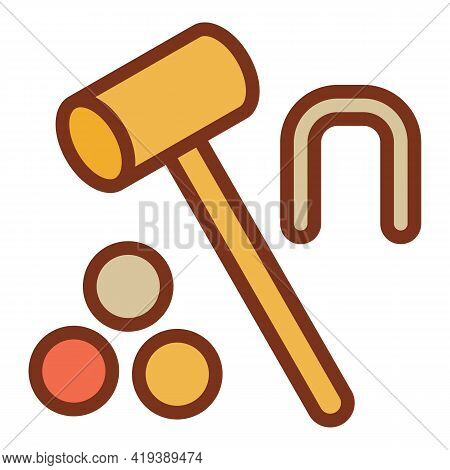 Croquet Mallet Icon. Outline Croquet Mallet Vector Icon For Web Design Isolated On White Background