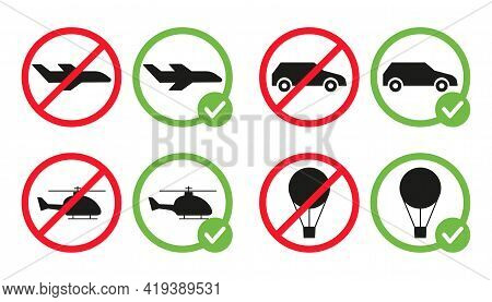 Different Types Of Transport Are Allowed And Prohibited Vector Flat Illustration Isolated On White B