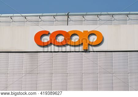 Grancia, Ticino, Switzerland - 26th March 2021 : Coop Sign On A Building Facade In Lugano. The Coop