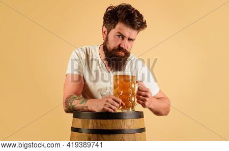 Beer Time. Bearded Man With Glass Of Beer. Holiday, Drinks, Alcohol And Leisure Concept. Oktoberfest