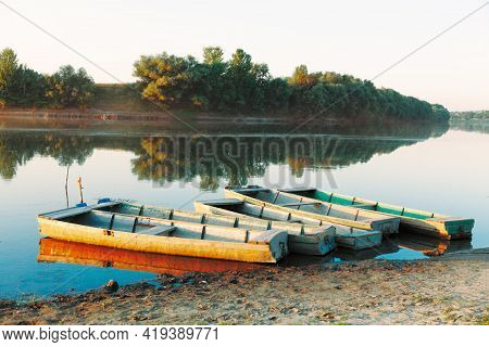 Rustic Wooden Boats . Moored Fishing Boats In The Village