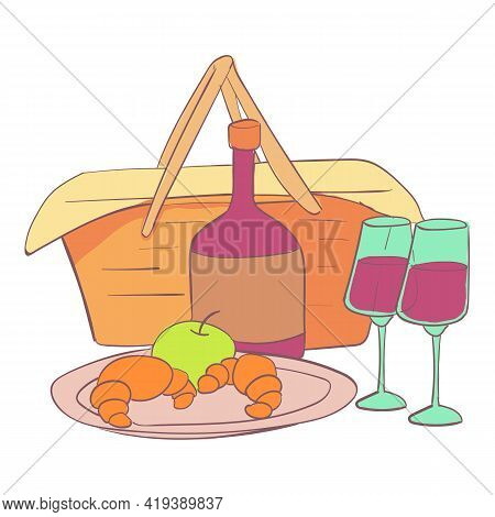 Hamper Basket Icon. Cartoon And Flat Of Hamper Basket Vector Icon For Web Design Isolated On White B