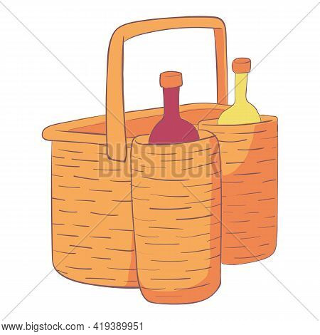 Drink Hamper Icon. Cartoon And Flat Of Drink Hamper Vector Icon For Web Design Isolated On White Bac