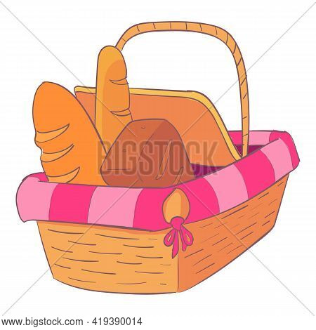 Willow Picnic Basket Icon. Cartoon And Flat Of Willow Picnic Basket Vector Icon For Web Design Isola