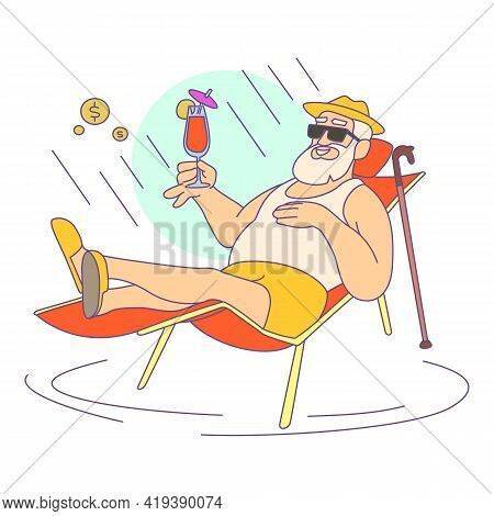 Relax Retirement Icon. Cartoon And Flat Of Relax Retirement Vector Icon For Web Design Isolated On W