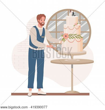 Wedding Manager In Formal Dress Checking Wedding Cake Vector Flat Illustration. Happy Smiling Man Pl