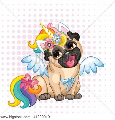 Puppy Pug In A Bright Colored Costume Of A Unicorn. Vector Illustration. Cartoon Character. Pugicorn