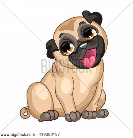 Cute Cartoon Sitting Puppy Pug. Vector Illustration. Cartoon Character. For T-shirt Composition, Pri