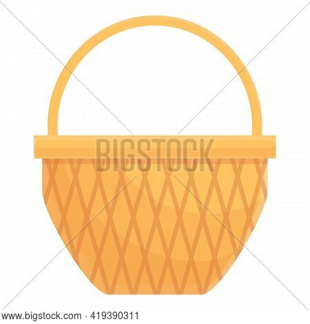 Empty Picnic Basket Icon. Cartoon And Flat Of Empty Picnic Basket Vector Icon For Web Design Isolate