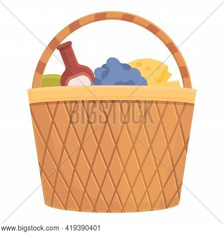 Summer Picnic Basket Icon. Cartoon And Flat Of Summer Picnic Basket Vector Icon For Web Design Isola