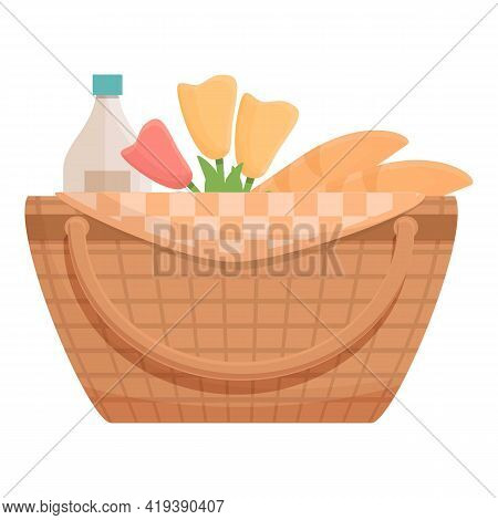 Lunch Basket Icon. Cartoon And Flat Of Lunch Basket Vector Icon For Web Design Isolated On White Bac