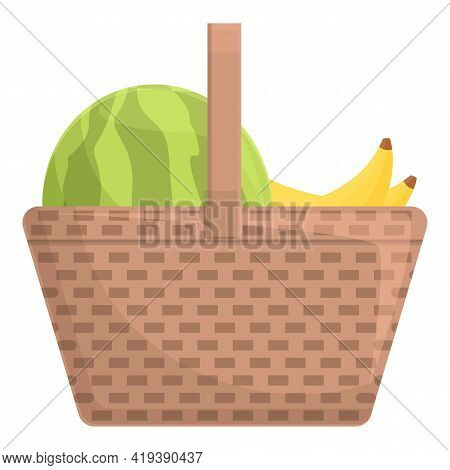 Summer Harvest Basket Icon. Cartoon And Flat Of Summer Harvest Basket Vector Icon For Web Design Iso