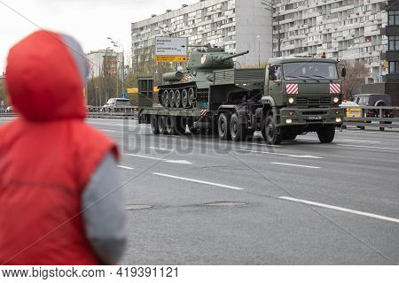 May 4, 2021, Russia, Moscow. Rehearsal Of The Parade To May 9 Victory Day In Great Patriotic War. Ar