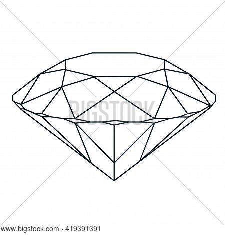 Vector Golden Luxury Crystal Diamond Shape.geometric Premium Glitter Icon, Polygon Mosaic Shape Amet