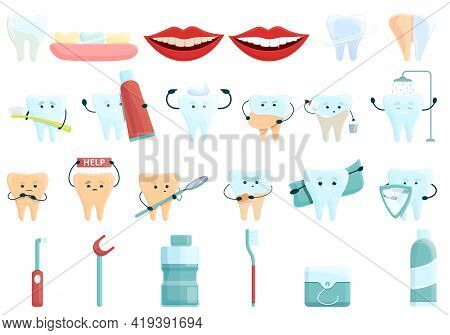 Teeth Whitening Icons Set. Cartoon Set Of Teeth Whitening Vector Icons For Web Design