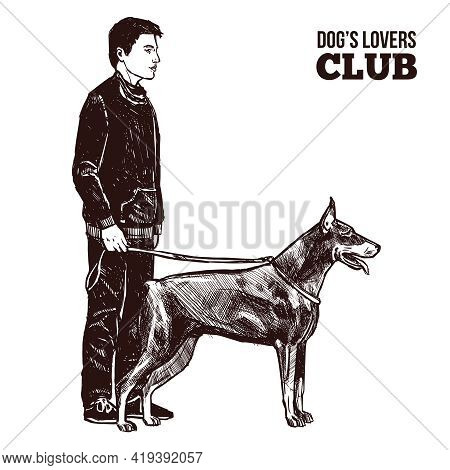 Hand Drawn Man And Dog On The Leash Silhouettes Vector Illustration