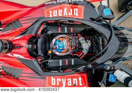 May 01, 2021 - Ft. Worth, Texas, USA: ALEX PALOU (10) of Barcelona, Spain prepares to practice for the Genesys 300 at the Texas Motor Speedway in Ft. Worth, Texas.