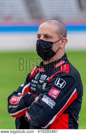 May 01, 2021 - Ft. Worth, Texas, USA: TONY KANAAN (48) of Salvador, Brazil prepares to race for the Genesys 300 at the Texas Motor Speedway in Ft. Worth, Texas.