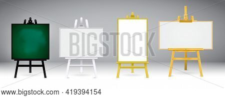 Set Of Realistic Wooden Easel Or Wood Easels Painting Or Art Boards  Canvas In Different Size Dimens