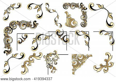 Vector Set Of Vintage Baroque Corners And Dividers.border,angle,swirl,antique  Acanthus,damask Scrol