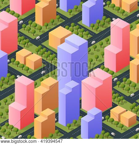 Isometric 3d Street Downtown Architecture District Part Of The City