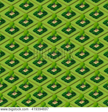 Garden Park Isometric Forestry Landscape Green View Projection
