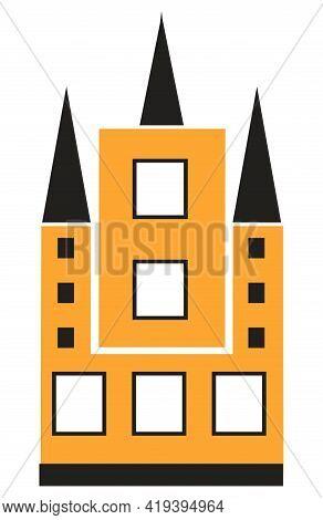 Christian Catholic Church Building Flat Color Single House