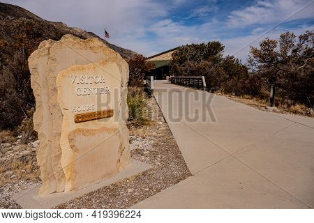 Guadalupe Mountains Visitor Center Sign In Front Of Wide Sidewalk