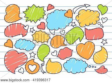 Speech Bubble Sketch Doodle Set, Background Line Notebook. Pop Art Design Elements Dialog Clouds For