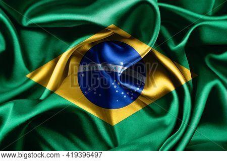 Closeup of silky Brazilian flag