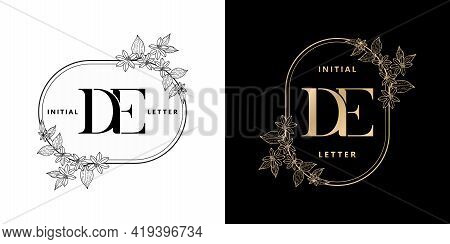 Illustration Of Floral Frame For De Initial Letter And Graphic Name, D And E Monogram, For Wedding C