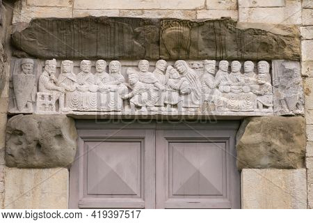 An Old Bas-relief Above The Door. Beautiful Bas-relief Above The Entrance To The Millennial Temple I