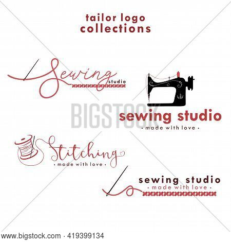Sewing And Stitching Logo Set, Needle And Yarn Logo, Simple Sewing Collections Logo Vector Design Te