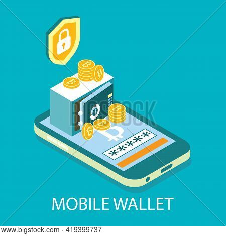 Mobile Cryptocurrency Wallet, Vector Isometric Illustration. Digital Money Storage. Online Bitcoin C