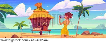 Girl Take Photo Of Landscape With Bungalow, Sea And Palm Trees. Vector Cartoon Illustration Of Woman