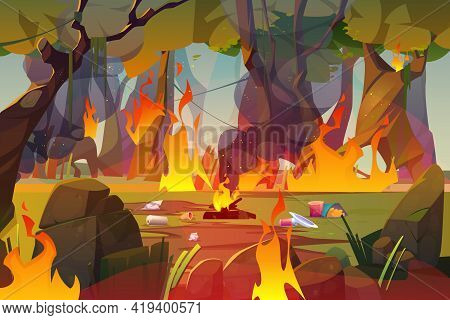 Fire In Forest, Polluted Wood With Raging Flames And Trash. Nature Pollution, Garbage Contamination,
