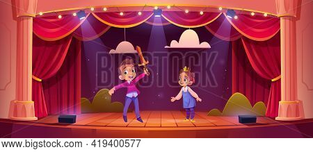 Kids On Theatre Stage, Little Children Actors Playing Fairy Tale Concert With Knight And Princess Ch