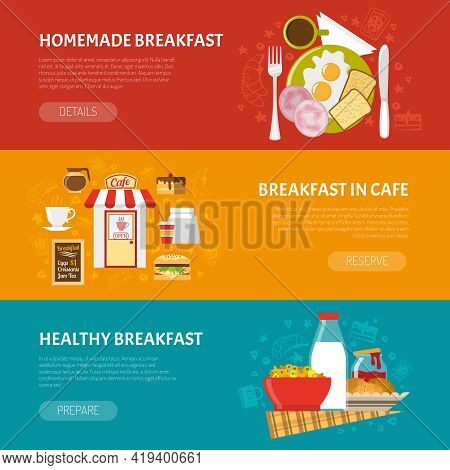 Breakfast Horizontal Banners Set With Homemade And Healthy Breakfast Symbols Flat Isolated Vector Il