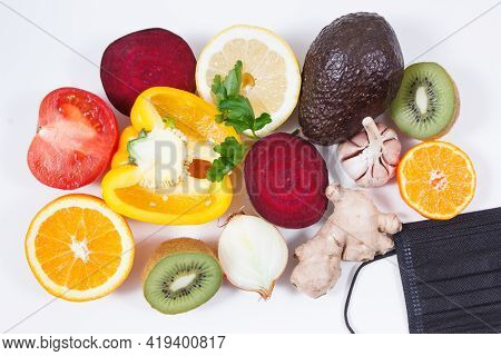 Fresh Ripe Fruits With Vegetables As Source Natural Healthy Vitamins And Protective Mask. Strengthen