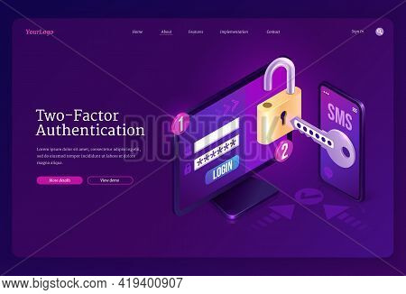 Two-factor Authentication Isometric Landing Page, Password Secure Login Verification Or Sms With Pus