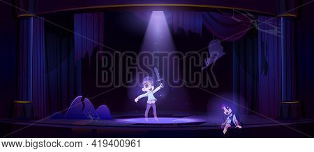 Ghosts Of Kids On Old Theater Stage At Night. Vector Cartoon Illustration Of Dead Girl And Boy Spiri