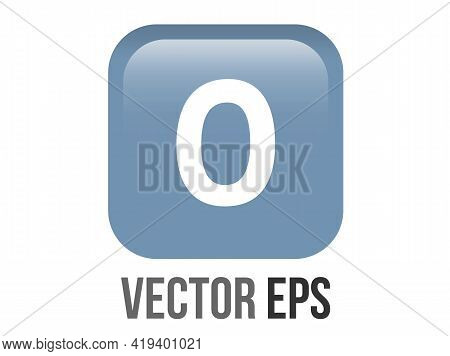 Vector Shinny Gradient Blue Keycap White Digit Zero Icon Button