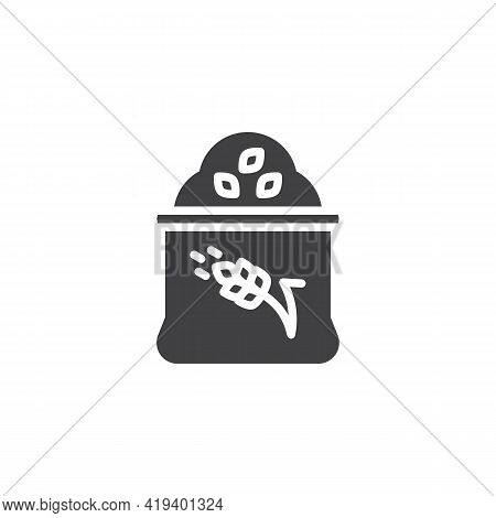Wheat Flour Sack Vector Icon. Filled Flat Sign For Mobile Concept And Web Design. Flour Bag Glyph Ic