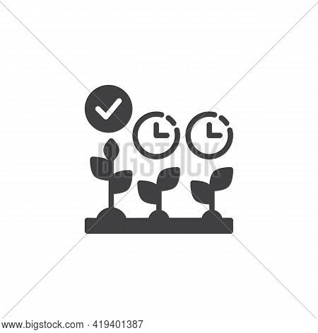 Cultivation Time Vector Icon. Filled Flat Sign For Mobile Concept And Web Design. Crop Growing Time