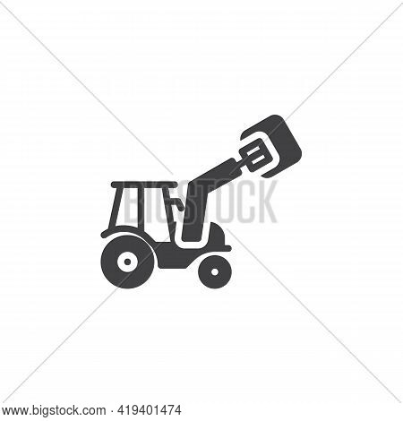 Agricultural Tractor Machine Vector Icon. Filled Flat Sign For Mobile Concept And Web Design. Tracto