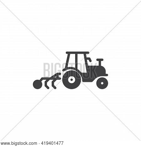 Tractor Cultivator Vector Icon. Filled Flat Sign For Mobile Concept And Web Design. Cultivator Machi
