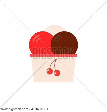 Flat Vector Illustration Of A Paper Cup With Chocolate, Strawberry And Vanilla Balls Of Ice Cream Or