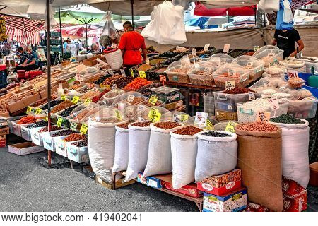 Alanya, Turkey - October 23, 2020: Bags Of Nuts And Boxes Of Dried Fruits At The Grocery Market In A