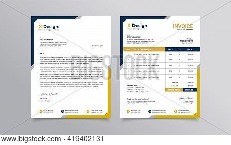 Corporate Business Branding Identity Letterhead And Invoice Template