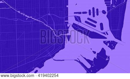 Purple Miami City Area Vector Background Map, Streets And Water Cartography Illustration. Widescreen